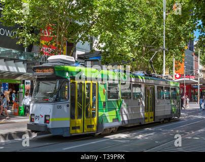 Melbourne tram on Swanston Street, Melbourne, Victoria, Australia - Stock Photo