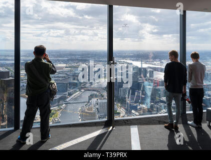 Aerial view over the city from the Eureka Skydeck 88, Eureka Tower, Melbourne, Victoria, Australia - Stock Photo