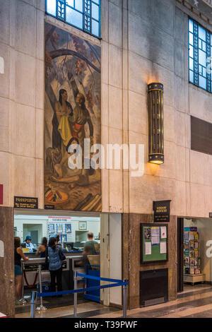 Interior of the Oak Park Post Office - Stock Photo