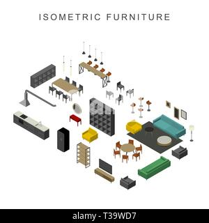 Furniture set in isometric view. Illustration of living room furniture. - Stock Photo