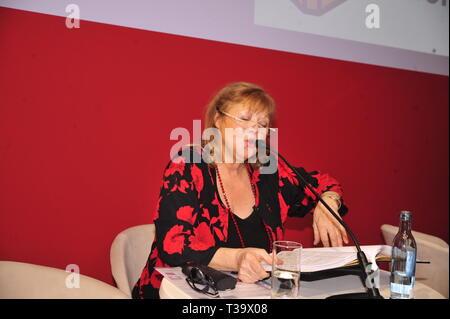 Franziska Troegner bei der Lesung aus ihrem Buch 'Permanent trendresistent' auf der Leipziger Buchmesse 2019 in Halle 3. Leipzig, 23.03.2019 - Stock Photo