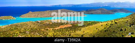 Impressive Spinalonga island,panoramic view,Crete,Greece - Stock Photo