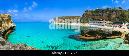 Beautiful beach near Tropea,view with turquoise sea and cliffs,Calabria,Italy - Stock Photo
