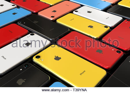Bucharest, Romania - April 2019: Apple iPhone XR smart phones - all colours (Red, Yellow, Blue, Coral, Silver, Space Grey) comparison, mosaic pattern - Stock Photo