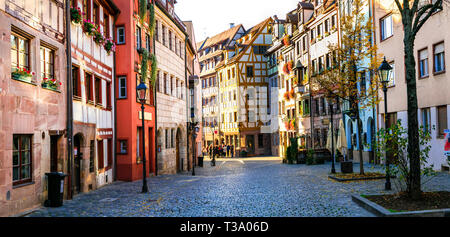 Traditional colorful houses in Nuremberg old town,Bavaria,Germany - Stock Photo