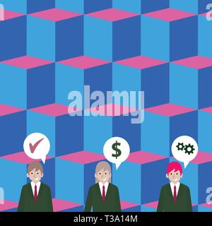 Businessmen Each has their Own Speech Bubble with Optimization Cost Icons Design business concept. Business ad for website and promotion banners. empt - Stock Photo