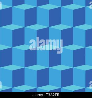 Isometric Cubic Blocks Pattern in Blue Creating 3D, Depth and Perspective Design business concept Empty copy text for Web banners promotional material - Stock Photo