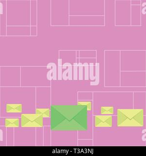 Pastel Color Closed Envelopes in Different Sizes with Big one in the Middle Business Empty template for Layout for invitation greeting card promotion  - Stock Photo