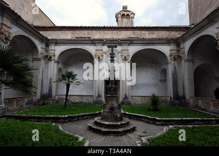 suggestive ambience of ancient cemetery's cloister in saint lawrence charterhouse certosa di san lorenzo in padula province of salerno italy - Stock Photo