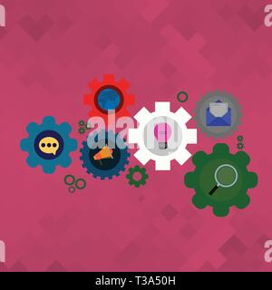 Set of Global Online Social Networking Icons Inside Colorful Cog Wheel Gear Design business concept Empty copy space modern abstract background - Stock Photo