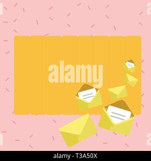 Closed and Open Envelopes with Letter Tucked In on Top of Color Stationery Business concept Empty template copy space isolated Posters coupons promoti - Stock Photo