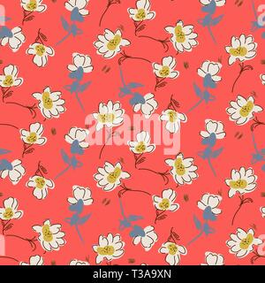 Hand drawn flowers bright colors seamless vector pattern. - Stock Photo