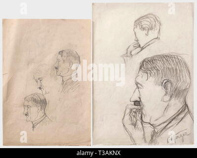 Hitler trial 1924 - sketches from the court room., 19 drawings by the trial observer Carl August Jäger made at the court hearings against Hitler and his companions of the Beer Hall Putsch on 9th November 1923. Some portraits with signatures of the depicted persons, among them Ernst Röhm and Hermann Kriebl. As no photographs were taken during the proceedings, this is the only authentic picture material of the Hitler trial, which was held at the People's Court Munich I. Jäger sold the drawings, some of which entered the Munich Monacensia Library. Carl August Jäger (1879 - 195, Editorial-Use-Only - Stock Photo