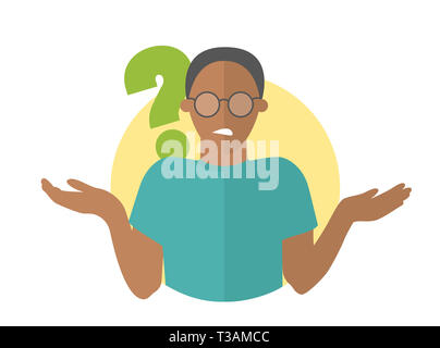 Flat design icon. Black handsome man in glasses doubts. Guy with a question mark. Simply editable isolated vector illustration - Stock Photo