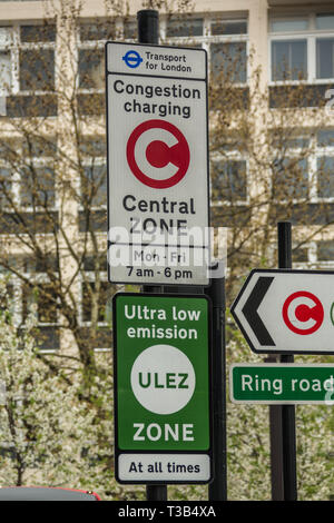 London, UK. 8th April, 2019. Transport for London introduce the new 'Ultra Low Emission Zone' (ULEZ) with new signage in central London (here at the Elephant and Castle in South London). The ULEZ, which came into affect on 8th April 2019 covers the same area as the London Congestion Zone and will be expanded in late 2021 to the area bounded by the North & South Circular roads ( the same area as the current Low Emission Zone. - Stock Photo