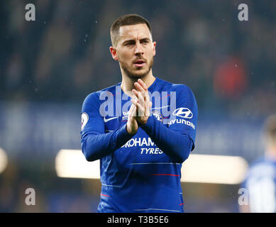 London, UK. 08th Apr, 2019. Chelsea's Eden Hazard during English Premier League between Chelsea and West Ham United at Stamford Bridge stadium, London, England on 08 Apr 2019. Credit: Action Foto Sport/Alamy Live News - Stock Photo