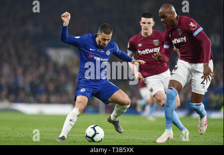London, UK. 08th Apr, 2019. Eden Hazard of Chelsea during the Premier League match between Chelsea and West Ham United at Stamford Bridge on April 8th 2019 in London, England. (Photo by Zed Jameson/phcimages.com) Credit: PHC Images/Alamy Live News - Stock Photo