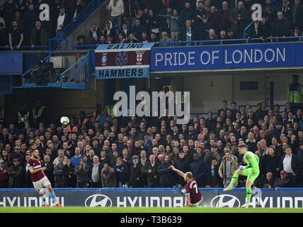 London, UK. 08th Apr, 2019. West Ham fans during the Premier League match between Chelsea and West Ham United at Stamford Bridge on April 8th 2019 in London, England. (Photo by Zed Jameson/phcimages.com) Credit: PHC Images/Alamy Live News - Stock Photo