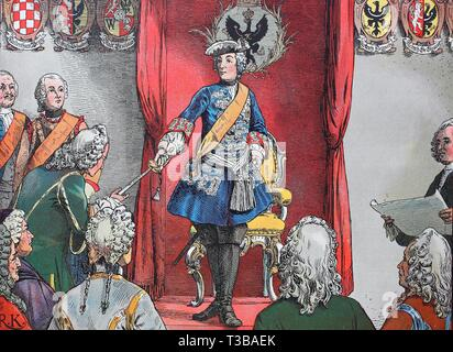 First Silesian War, 1740-1742, King Frederick the Great, Frederick II., Friedrich der Große, Friedrich II. 1712-1786, homage to the silesian estates a - Stock Photo