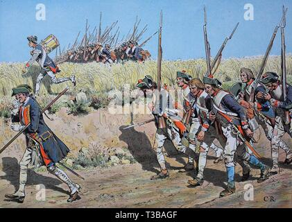 Seven Years' War, global conflict fought between 1756 and 1763, Musketeers and grenadiers on the march from Moravia to Kuestrin, historical illustrati - Stock Photo