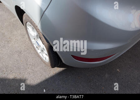Car crash / Vehicle crash; close up damage and details of automobile accident. Bodywork and mechanical detail. UK. - Stock Photo