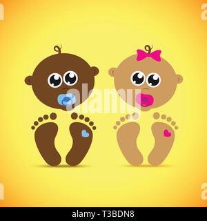 cute newborn baby boy and girl vector illustration EPS10 - Stock Photo