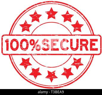 Grunge red 100 percent secure with star icon round rubber stamp - Stock Photo