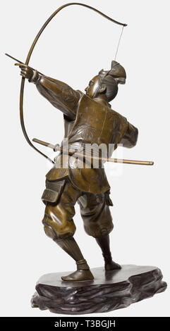 A Japanese Samurai archer, Meiji period Bronze with beautiful patina. A lightly armoured samurai standing and drawing a longbow, carrying a wakizashi and tachi at his side. Garments with finely engraved mon and scrolling leaves. Metal surfaces partially finely engraved and chased. On wooden base, unsigned. Height of the figure without base and bow 29.5 cm. historic, historical, people, 19th century, Japanese, Asian, Asia, Far East, object, objects, stills, clipping, clippings, cut out, cut-out, cut-outs, sculpture, sculptures, statuette, figurine, Additional-Rights-Clearance-Info-Not-Available - Stock Photo