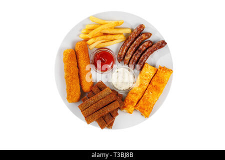 Hot appetizer croutons, set of chicken nuggets, sausages, cheese sticks, French fries, sauce and ketchup, white isolated background view from above - Stock Photo