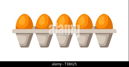 Icon eggs in tray. Illustration solated on white background. - Stock Photo