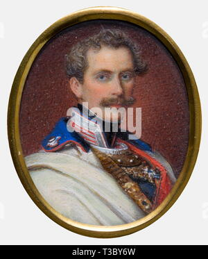 portrait miniatures of European sovereigns, circa 1850, Watercolour and gouache on ivory, Prince Charles of Bavaria (1795 - 1875) in uniform, unsigned, circa 43 x 35 mm, people, 19th century, object, objects, stills, clipping, clippings, cut out, cut-out, cut-outs, man, men, male, Additional-Rights-Clearance-Info-Not-Available - Stock Photo