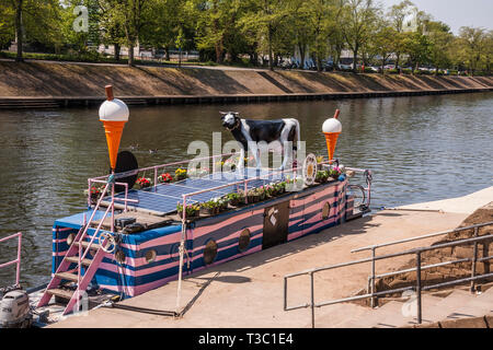 The Full Moo ice cream boat moored on the banks of the River Ouse in York,England,UK - Stock Photo