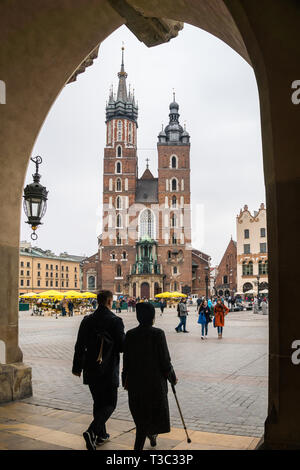 Krakow, Poland - March 22, 2019 - Rynek Glowny - The main square of Krakow, Poland. - Stock Photo