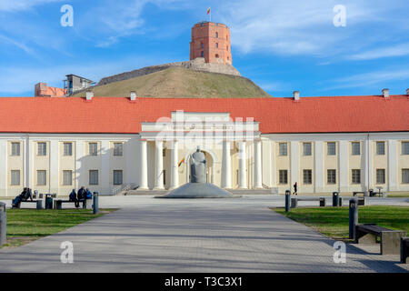 View to Vilnius city with National Museum of Lithuania and Gediminas tower - Stock Photo
