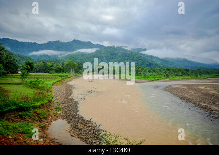 river and broken dam - Stock Photo