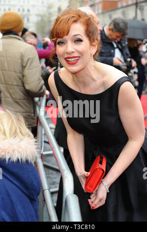 Katherine Parkinson seen arriving on the red carpet during the Olivier awards at the Albert Hall in London. - Stock Photo