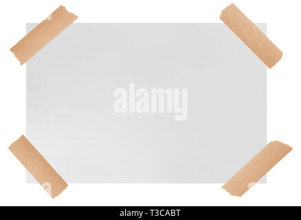 white paper sheet with adhesive tape  isolated on  white background - Stock Photo