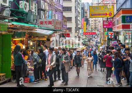 Market on Gage Street in Central district, Hong Kong Island, Hong Kong, China - Stock Photo