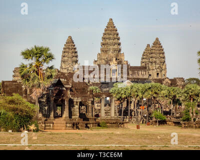 Temple at Angkor Wat. Angkor Wat is a temple complex in Cambodia and one of the largest religious monuments in the world, - Stock Photo