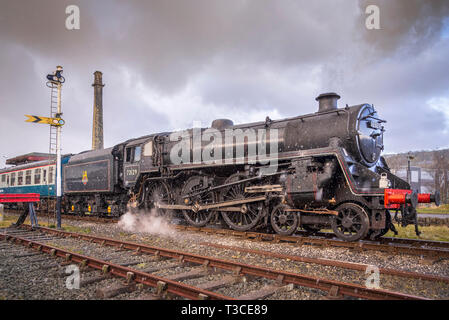 East Lancs Railway steam gala Feb 2015. British Railways Standard Class 5 No. 73129 is a preserved British steam locomotive. It is the only surviving  - Stock Photo