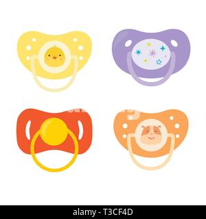 Set of children's pacifiers. Baby care equipment. Vector illustration. - Stock Photo