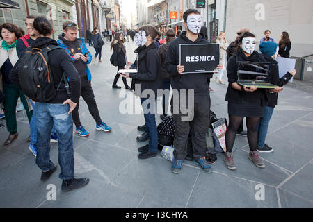 'Resnica' or 'truth' - a protesting the impact of modern, industrial farming on farmed animal - Stock Photo
