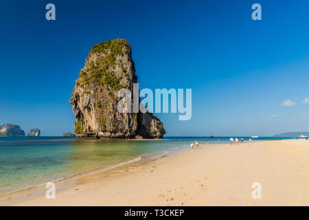 PhraNang Cave beach in Krabi Thailand - Stock Photo