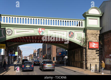 Foregate Street Railway Bridge is Grade II listed and contains the coat of arms and motto of the City of Worcester, England - Stock Photo