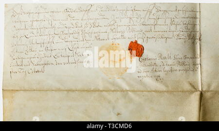 A patent of nobility for the Schürer Family, granted by the Emperor Rudolf II (1576 - 1612) Large parchment certificate raising the Schürer family to the nobility. Dimensions 78 x 65 cm. Calligraphic text with a coat of arms in colour, granted at Prague on 1 July 1592, with the signature of Rudolf II, Emperor of the Holy Roman Empire of the German Nation, in his own hand. A notary's certification on the back from 1777. historic, historical, 16th century, Imperial, Austria, Austrian, Danube Monarchy, Empire, object, objects, stills, clipping, clip, Additional-Rights-Clearance-Info-Not-Available - Stock Photo