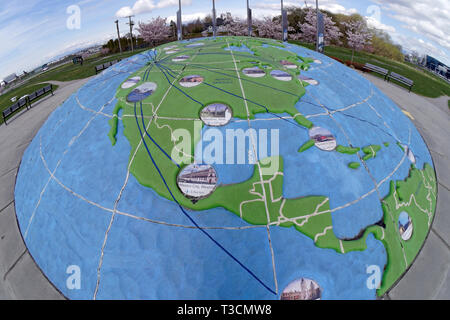 Fsheye view of three dimensional map of the world showing the Americas  in Larry Berg Flight Path Park, Richmond, BC, Canada - Stock Photo