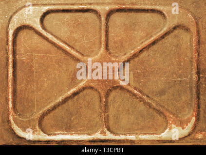Rusty metal sheet with a symmetrical pattern of the triangular shape - Stock Photo