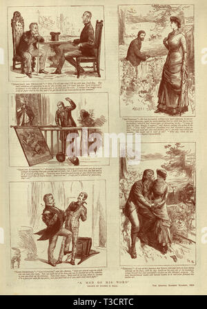 Vintage engraving of Victorian illustrated story, A man of his word, by Sydney P Hall, 1884, 19th Century - Stock Photo