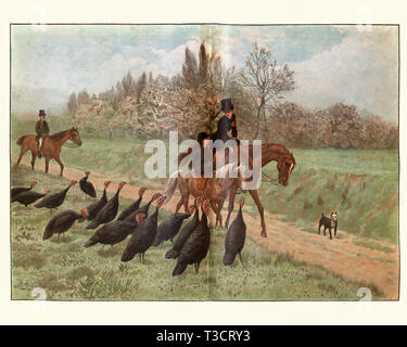 Vintage engraving of Morning Greeting, after R. Goubie. The Graphic, 1884 - Stock Photo