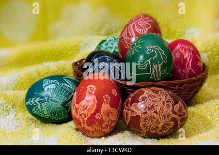 Handmade Scratched easter eggs - Stock Photo